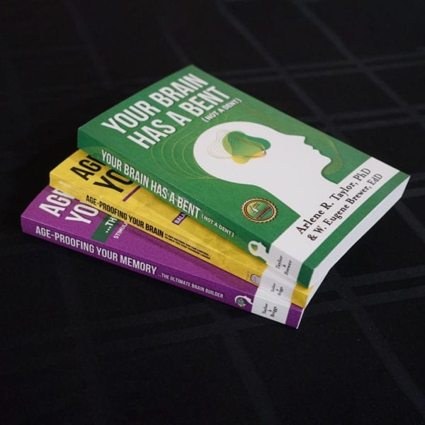 Three Book Bundle, Your Brain has a bent not a dent, age proofing your brain, and age proofing your memory